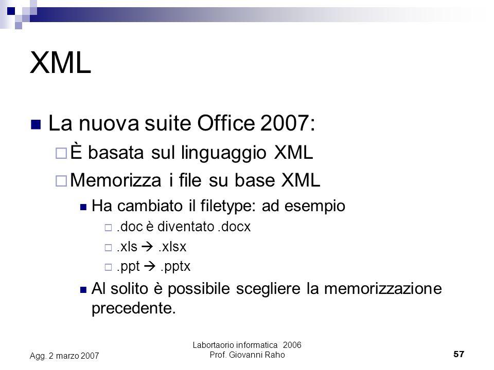 Labortaorio informatica 2006 Prof. Giovanni Raho57 Agg.