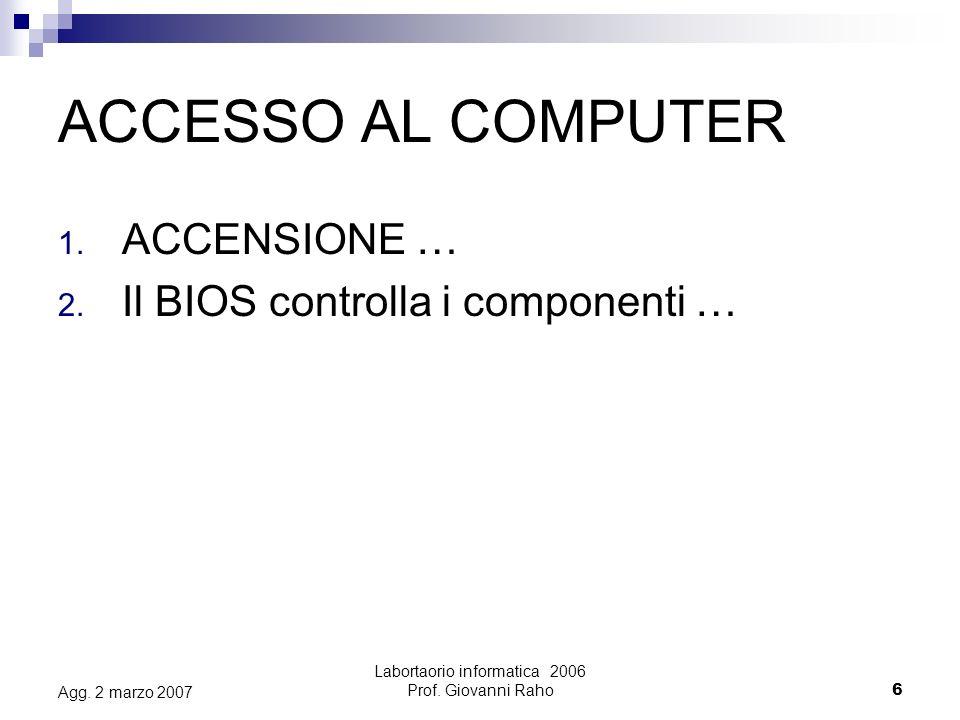 Labortaorio informatica 2006 Prof.Giovanni Raho27 Agg.