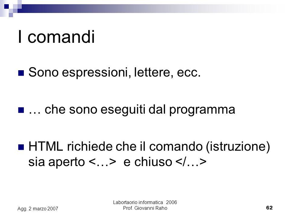 Labortaorio informatica 2006 Prof.Giovanni Raho62 Agg.