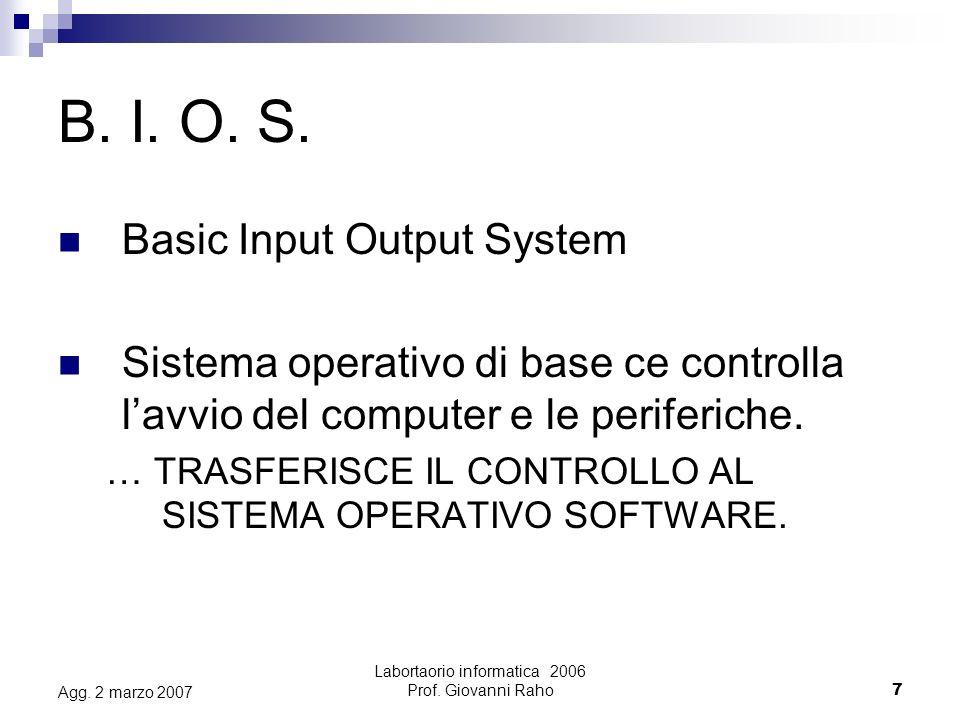 Labortaorio informatica 2006 Prof. Giovanni Raho7 Agg. 2 marzo 2007 B. I. O. S. Basic Input Output System Sistema operativo di base ce controlla lavvi