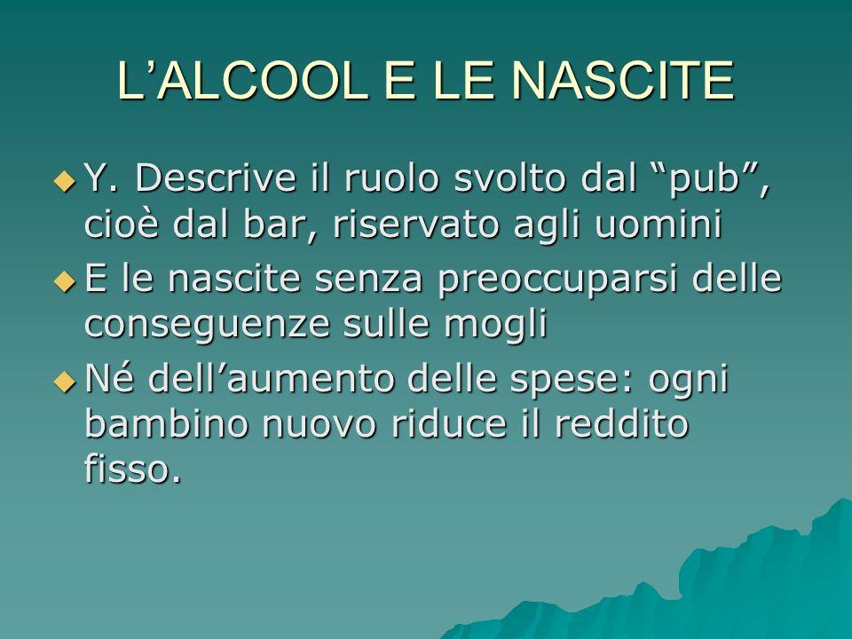 LALCOOL E LE NASCITE Y.Descrive il ruolo svolto dal pub, cioè dal bar, riservato agli uomini Y.