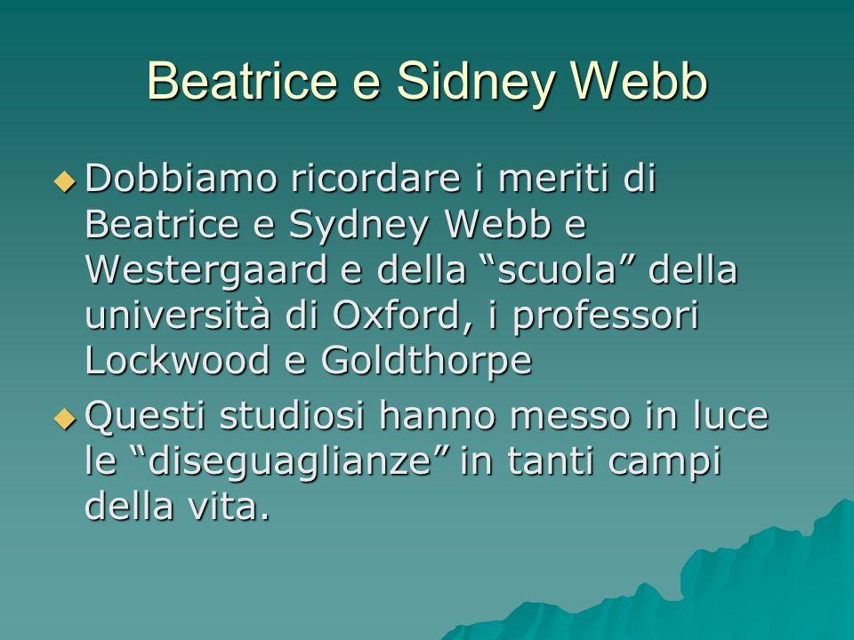 Beatrice e Sidney Webb Dobbiamo ricordare i meriti di Beatrice e Sydney Webb e Westergaard e della scuola della università di Oxford, i professori Loc