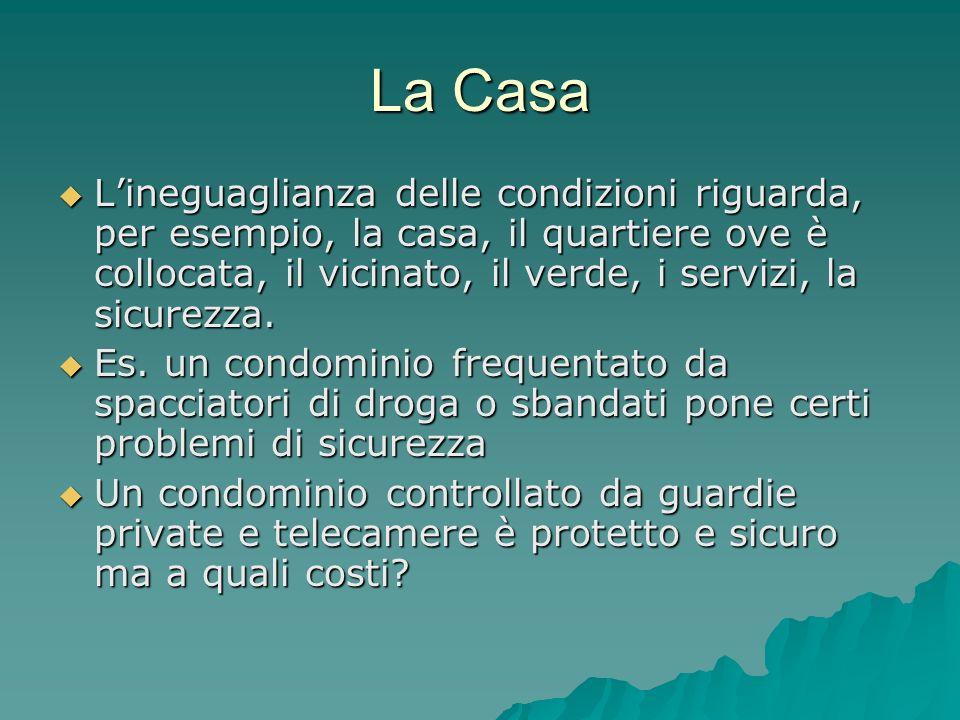 La Casa Lineguaglianza delle condizioni riguarda, per esempio, la casa, il quartiere ove è collocata, il vicinato, il verde, i servizi, la sicurezza.