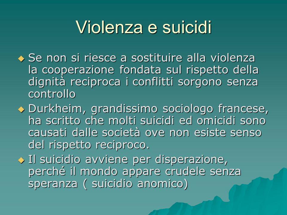 Violenza e suicidi Se non si riesce a sostituire alla violenza la cooperazione fondata sul rispetto della dignità reciproca i conflitti sorgono senza