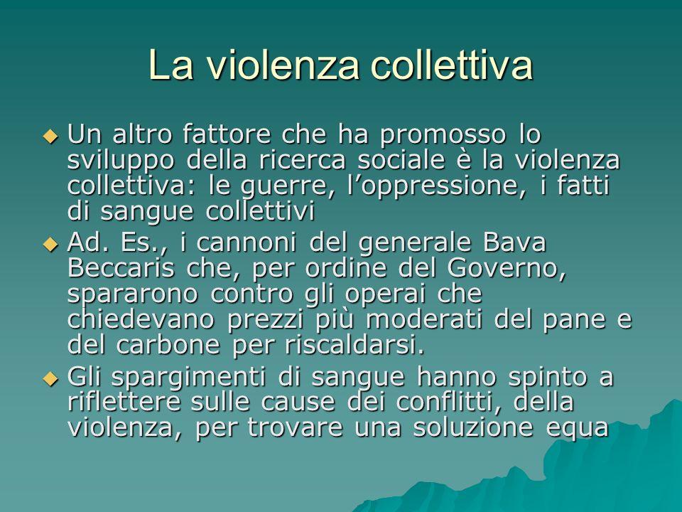 La violenza collettiva Un altro fattore che ha promosso lo sviluppo della ricerca sociale è la violenza collettiva: le guerre, loppressione, i fatti d