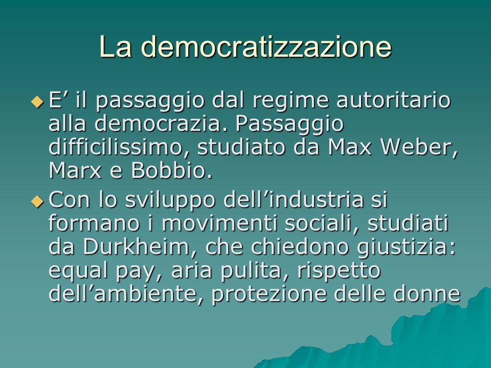 La democratizzazione E il passaggio dal regime autoritario alla democrazia. Passaggio difficilissimo, studiato da Max Weber, Marx e Bobbio. E il passa