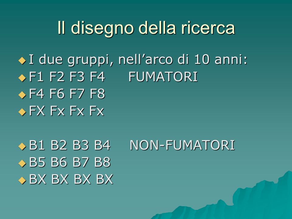 Il disegno della ricerca I due gruppi, nellarco di 10 anni: I due gruppi, nellarco di 10 anni: F1 F2 F3 F4 FUMATORI F1 F2 F3 F4 FUMATORI F4 F6 F7 F8 F4 F6 F7 F8 FX Fx Fx Fx FX Fx Fx Fx B1 B2 B3 B4 NON-FUMATORI B1 B2 B3 B4 NON-FUMATORI B5 B6 B7 B8 B5 B6 B7 B8 BX BX BX BX BX BX BX BX