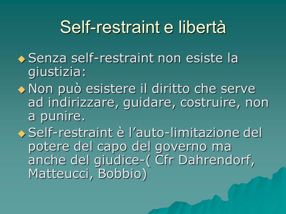 Self-restraint e libertà Senza self-restraint non esiste la giustizia: Senza self-restraint non esiste la giustizia: Non può esistere il diritto che serve ad indirizzare, guidare, costruire, non a punire.