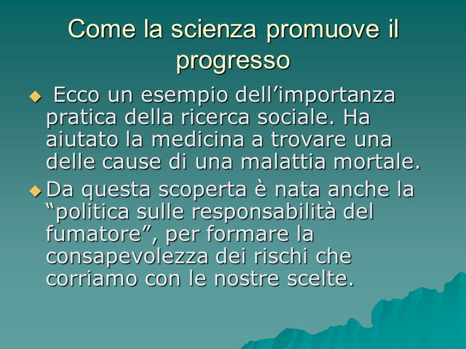 Come la scienza promuove il progresso Ecco un esempio dellimportanza pratica della ricerca sociale. Ha aiutato la medicina a trovare una delle cause d