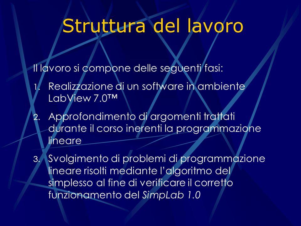 Struttura del lavoro Il lavoro si compone delle seguenti fasi: 1.