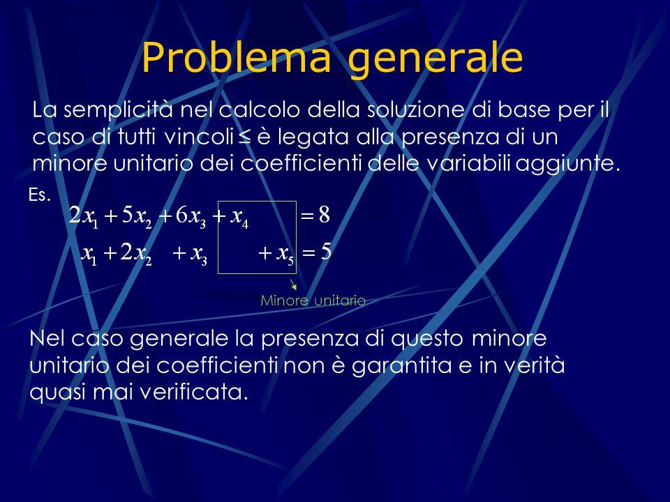 Problema generale La semplicità nel calcolo della soluzione di base per il caso di tutti vincoli è legata alla presenza di un minore unitario dei coefficienti delle variabili aggiunte.