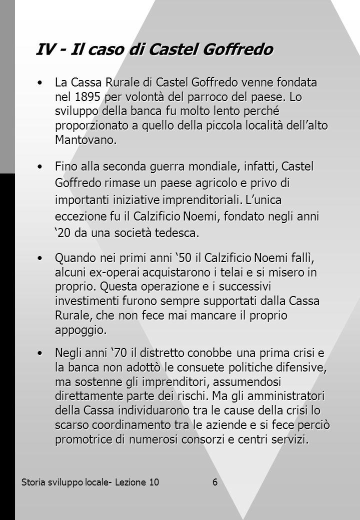 Storia sviluppo locale- Lezione 106 IV - Il caso di Castel Goffredo La Cassa Rurale di Castel Goffredo venne fondata nel 1895 per volontà del parroco