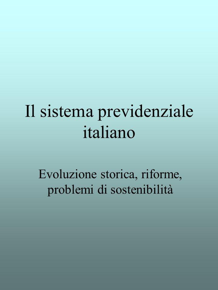 Il sistema previdenziale italiano Evoluzione storica, riforme, problemi di sostenibilità