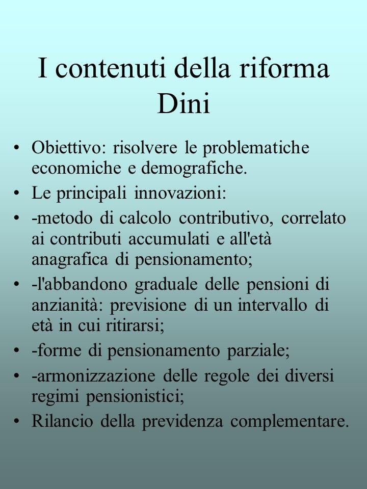 I contenuti della riforma Dini Obiettivo: risolvere le problematiche economiche e demografiche. Le principali innovazioni: -metodo di calcolo contribu
