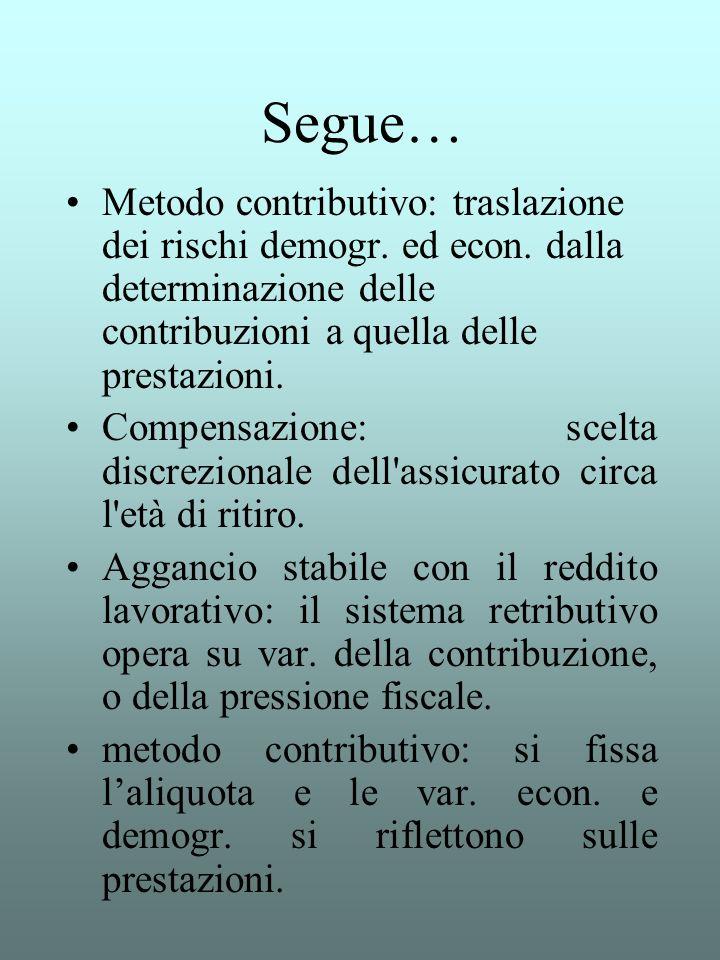 Segue… Metodo contributivo: traslazione dei rischi demogr. ed econ. dalla determinazione delle contribuzioni a quella delle prestazioni. Compensazione