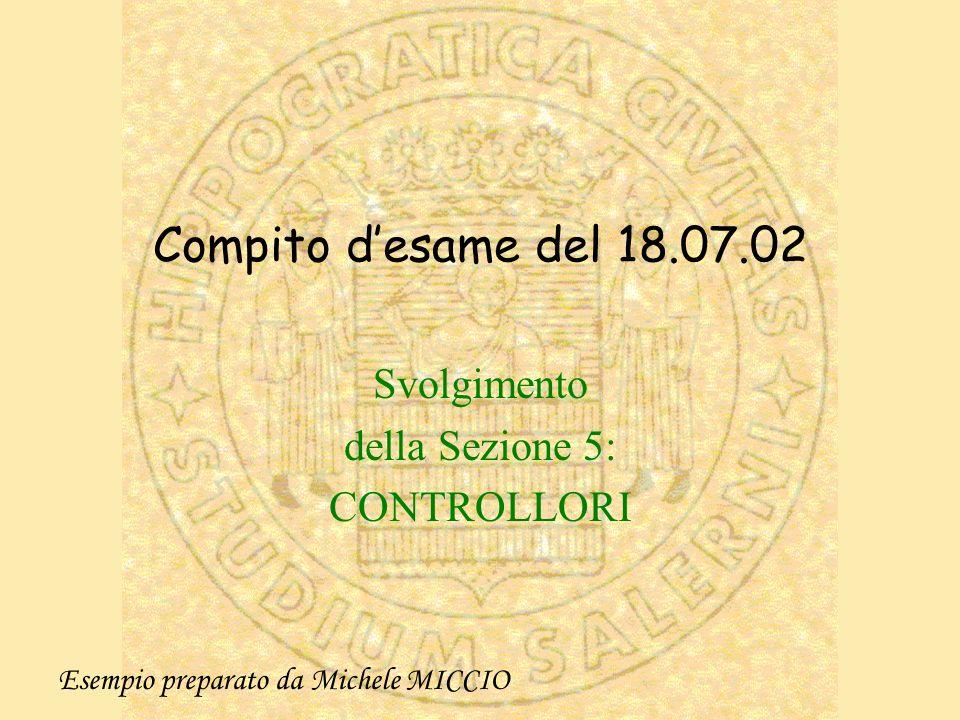 Compito desame del 18.07.02 Svolgimento della Sezione 5: CONTROLLORI Esempio preparato da Michele MICCIO