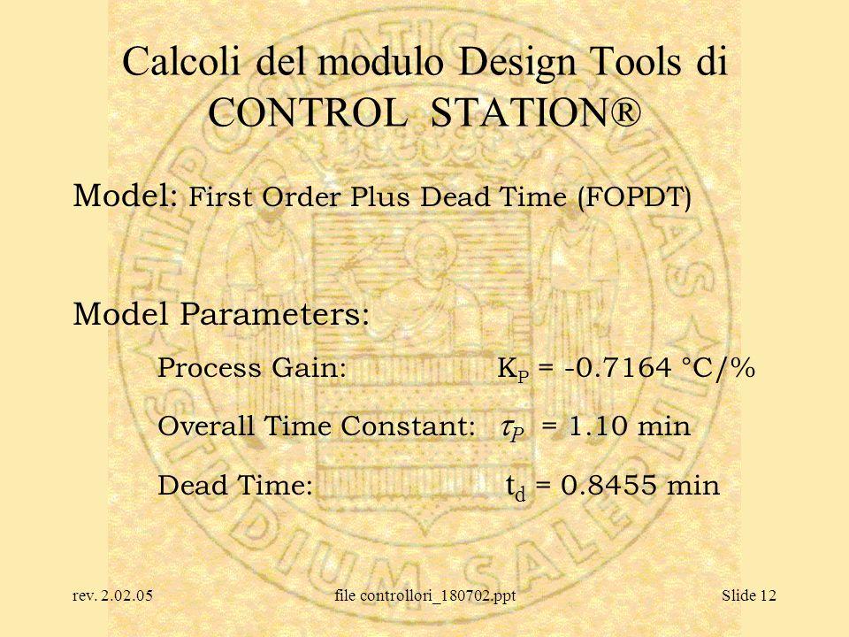 rev. 2.02.05file controllori_180702.pptSlide 12 Calcoli del modulo Design Tools di CONTROL STATION® Model: First Order Plus Dead Time (FOPDT) Model Pa
