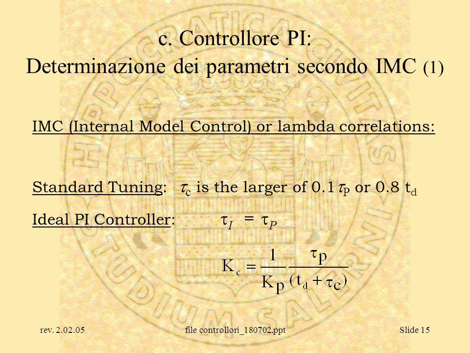 rev. 2.02.05file controllori_180702.pptSlide 15 c. Controllore PI: Determinazione dei parametri secondo IMC (1) IMC (Internal Model Control) or lambda