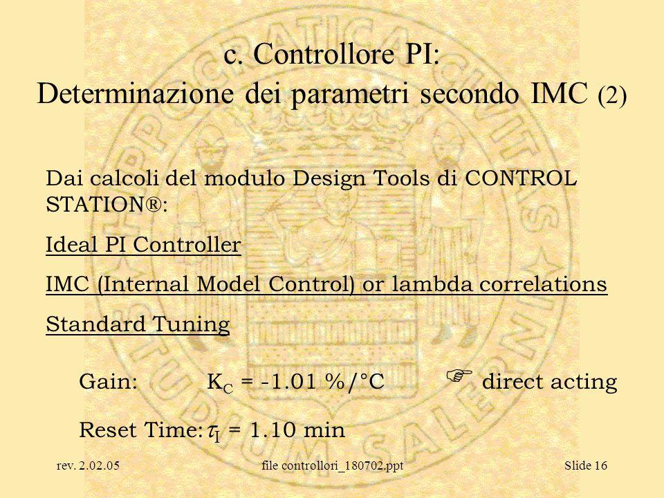 rev. 2.02.05file controllori_180702.pptSlide 16 c. Controllore PI: Determinazione dei parametri secondo IMC (2) Dai calcoli del modulo Design Tools di