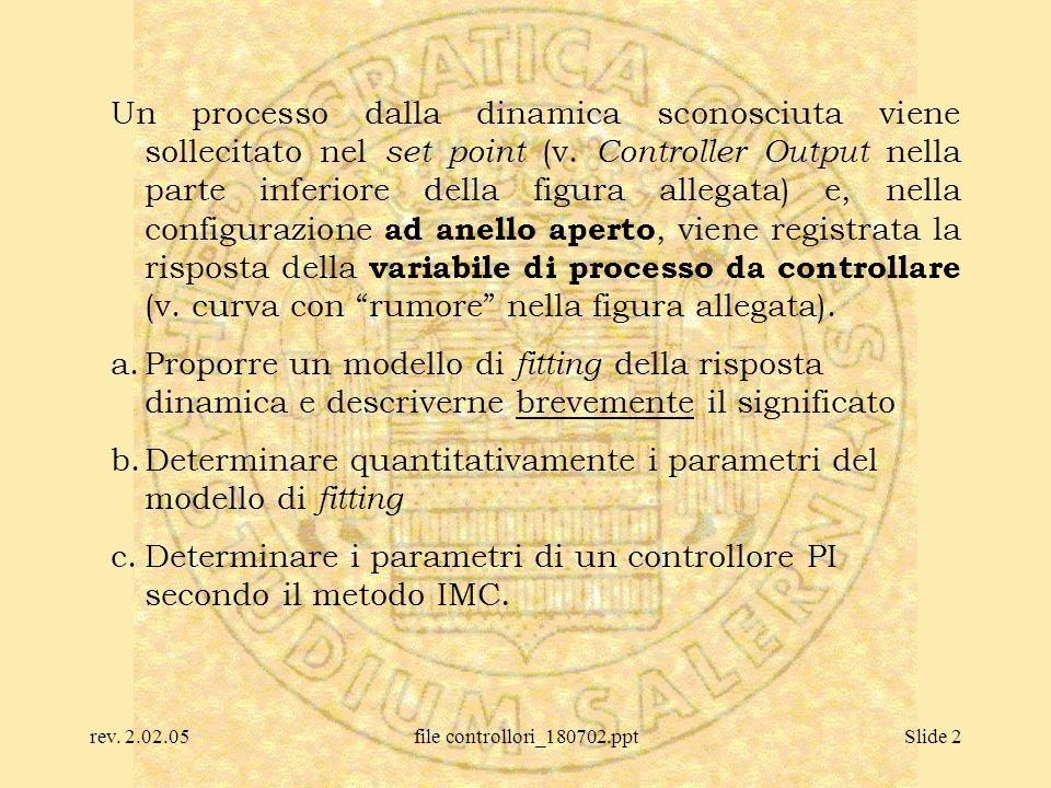 rev. 2.02.05file controllori_180702.pptSlide 2 Un processo dalla dinamica sconosciuta viene sollecitato nel set point (v. Controller Output nella part