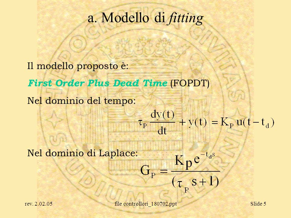 rev. 2.02.05file controllori_180702.pptSlide 5 a. Modello di fitting Il modello proposto è: First Order Plus Dead Time (FOPDT) Nel dominio del tempo: