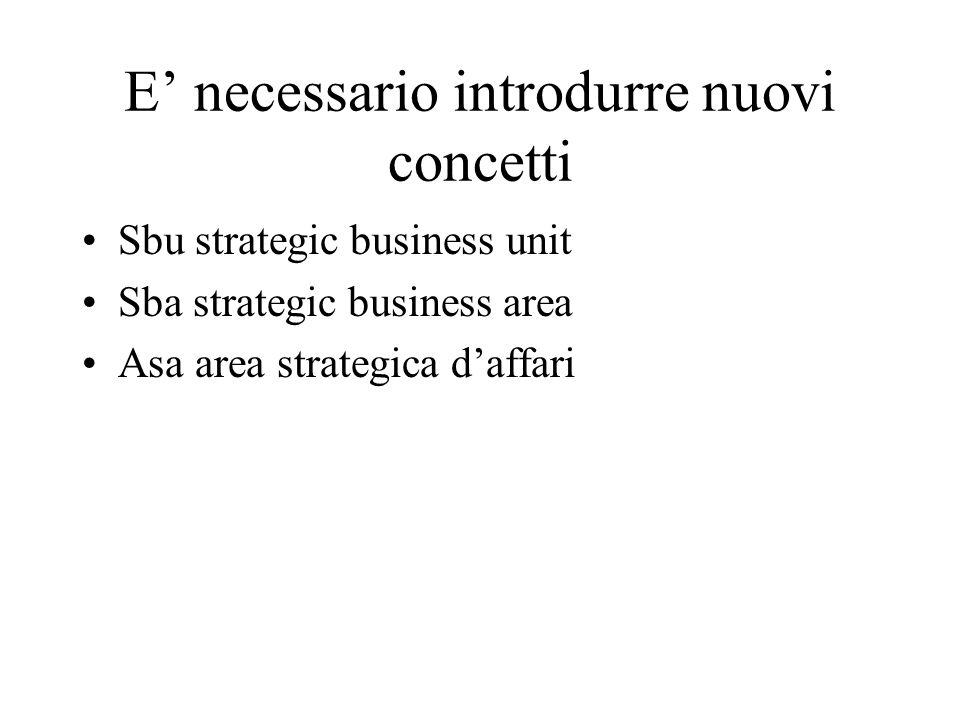 E necessario introdurre nuovi concetti Sbu strategic business unit Sba strategic business area Asa area strategica daffari