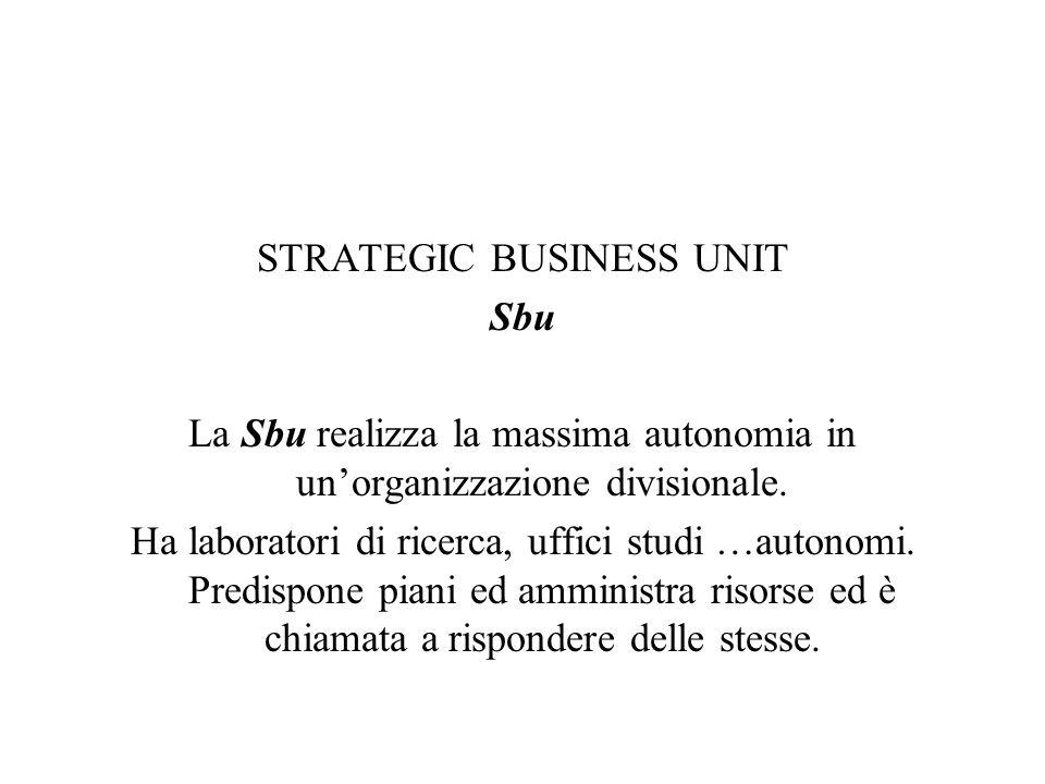 STRATEGIC BUSINESS UNIT Sbu La Sbu realizza la massima autonomia in unorganizzazione divisionale. Ha laboratori di ricerca, uffici studi …autonomi. Pr