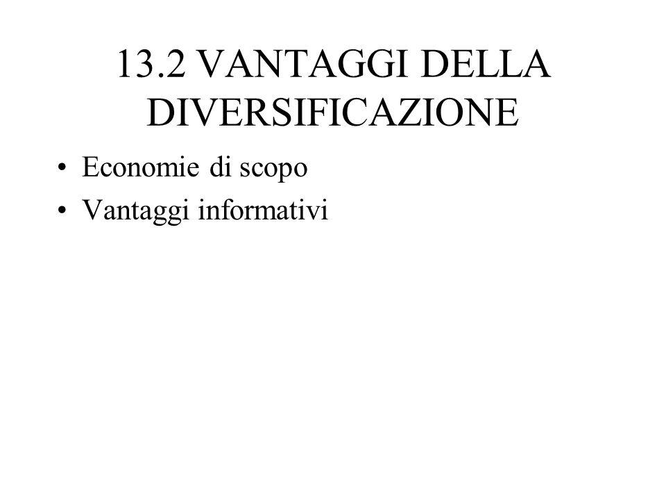 13.2 VANTAGGI DELLA DIVERSIFICAZIONE Economie di scopo Vantaggi informativi