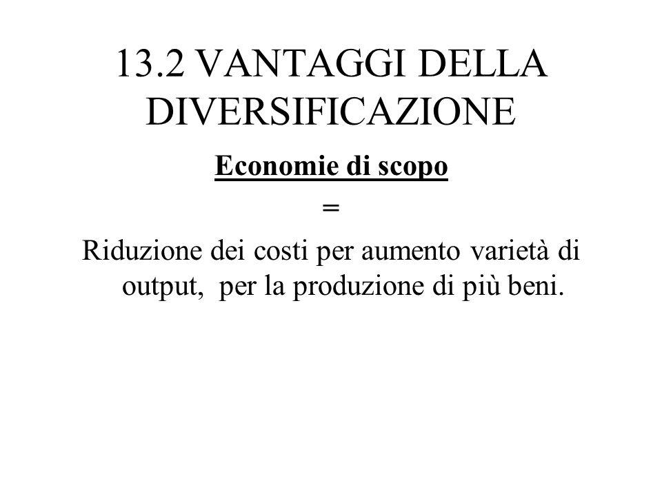 13.2 VANTAGGI DELLA DIVERSIFICAZIONE Economie di scopo = Riduzione dei costi per aumento varietà di output, per la produzione di più beni.