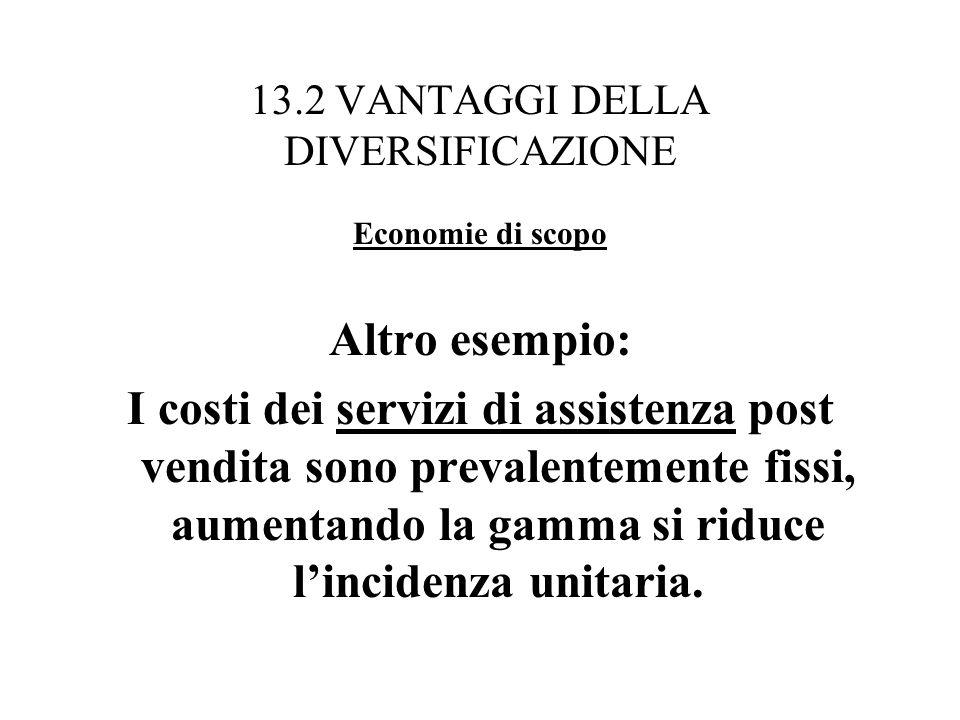 13.2 VANTAGGI DELLA DIVERSIFICAZIONE Economie di scopo Altro esempio: I costi dei servizi di assistenza post vendita sono prevalentemente fissi, aumen