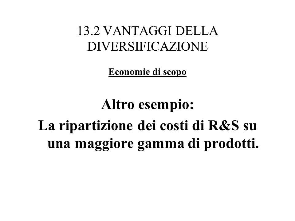 13.2 VANTAGGI DELLA DIVERSIFICAZIONE Economie di scopo Altro esempio: La ripartizione dei costi di R&S su una maggiore gamma di prodotti.
