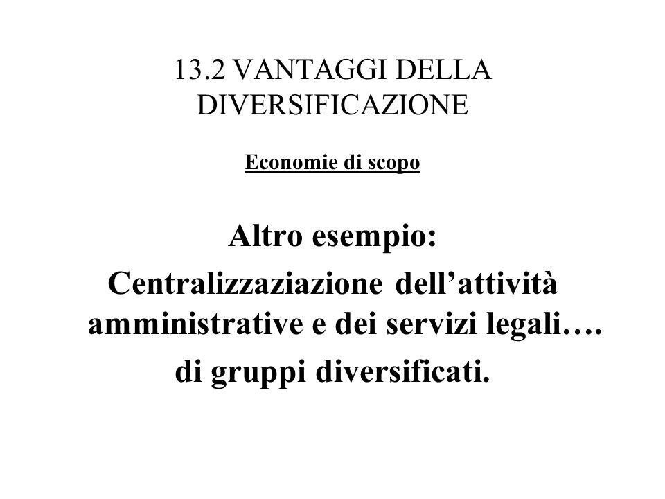 13.2 VANTAGGI DELLA DIVERSIFICAZIONE Economie di scopo Altro esempio: Centralizzaziazione dellattività amministrative e dei servizi legali…. di gruppi