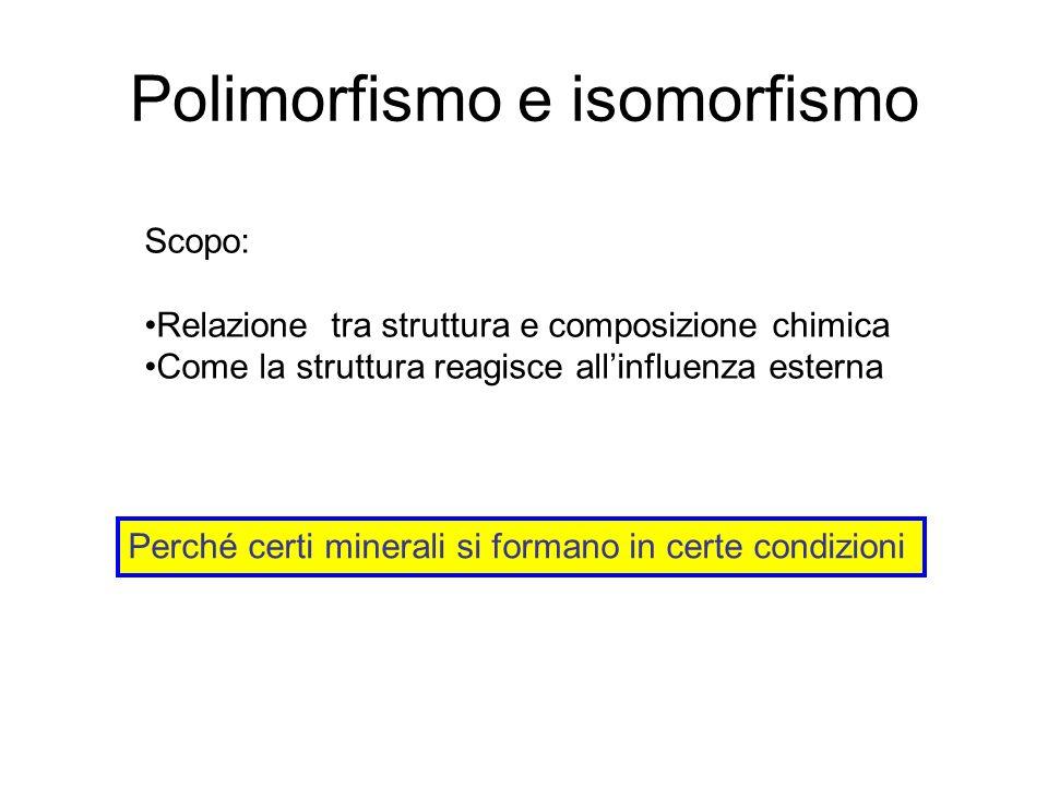 Polimorfismo e isomorfismo Scopo: Relazione tra struttura e composizione chimica Come la struttura reagisce allinfluenza esterna Perché certi minerali