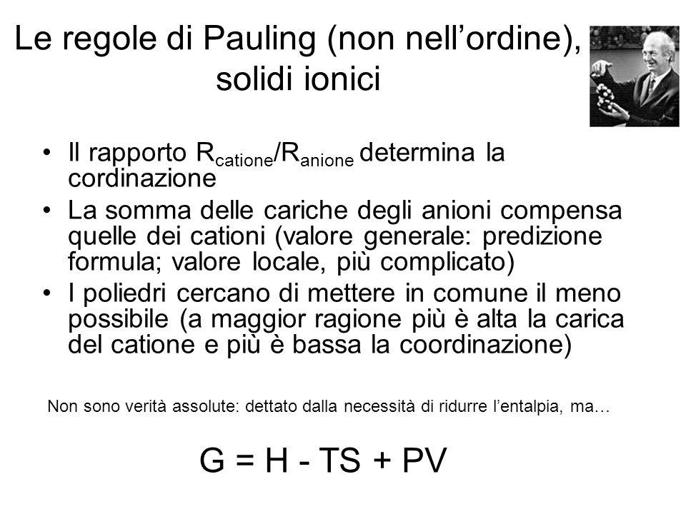 Le regole di Pauling (non nellordine), solidi ionici Il rapporto R catione /R anione determina la cordinazione La somma delle cariche degli anioni com