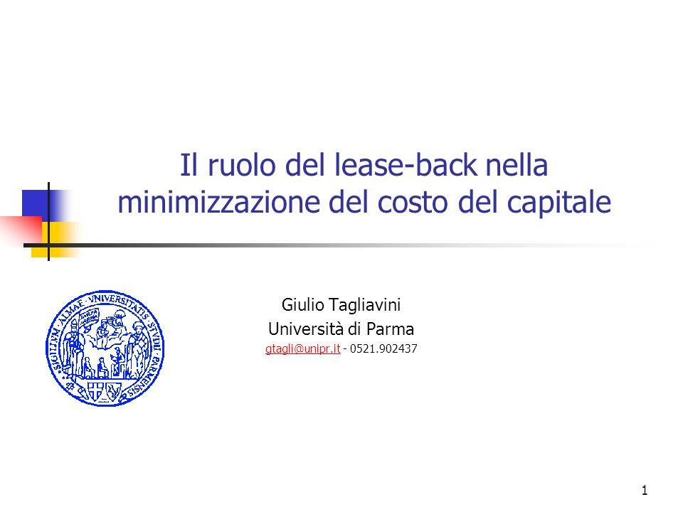1 Il ruolo del lease-back nella minimizzazione del costo del capitale Giulio Tagliavini Università di Parma gtagli@unipr.itgtagli@unipr.it - 0521.9024