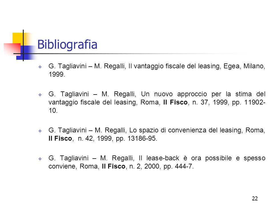 22 Bibliografia G. Tagliavini – M. Regalli, Il vantaggio fiscale del leasing, Egea, Milano, 1999. G. Tagliavini – M. Regalli, Un nuovo approccio per l