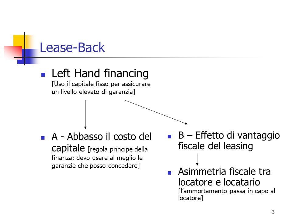 3 Lease-Back Left Hand financing [Uso il capitale fisso per assicurare un livello elevato di garanzia] A - Abbasso il costo del capitale [regola princ