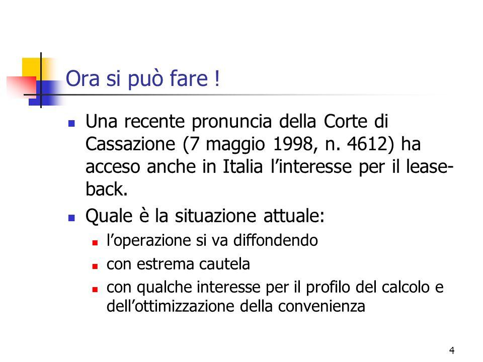 4 Ora si può fare ! Una recente pronuncia della Corte di Cassazione (7 maggio 1998, n. 4612) ha acceso anche in Italia linteresse per il lease- back.