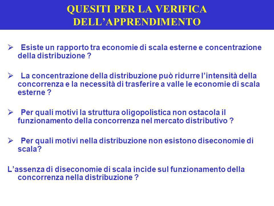 QUESITI PER LA VERIFICA DELLAPPRENDIMENTO Esiste un rapporto tra economie di scala esterne e concentrazione della distribuzione ? La concentrazione de