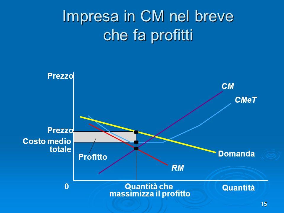 16 Impresa in CM nel breve che fa perdite Quantità 0 Prezzo Domanda RM CMeT CM