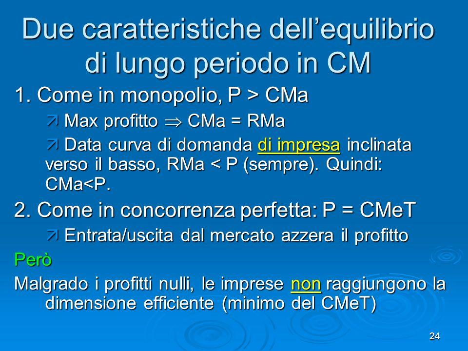 25 CM e concorrenza perfetta Due differenze notevoli tra CM e concorrenza perfetta 1.