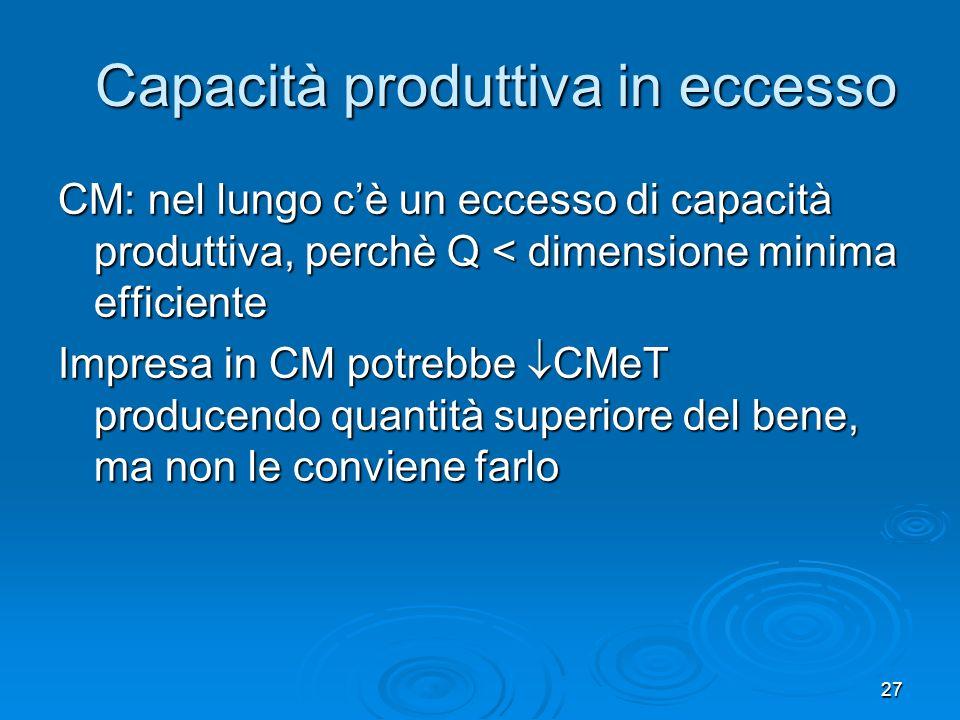 28 Capacità produttiva in eccesso in CM Quantità Impresa in concorrenza monopolistica Impresa in concorrenza perfetta Quantità Prezzo P = RMa (curva di domanda) CMa CMeT QuantitàprodottaDimensione efficiente efficiente Prezzo P Domanda CMa CMeT P = CMa Quantitàprodotta = dimensione efficiente efficiente Capacità in eccesso