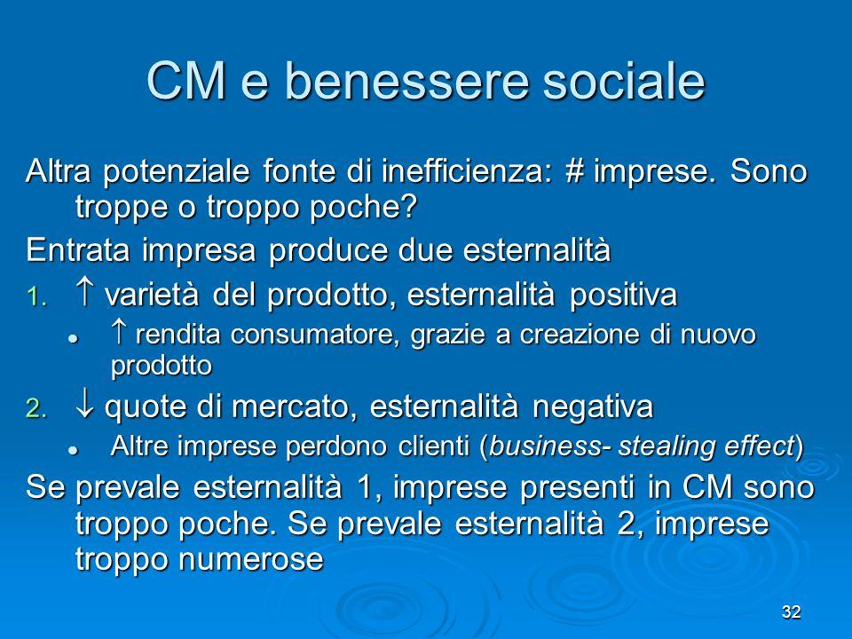33 CM e benessere sociale: riassunto CM genera perdite di efficienza CM genera perdite di efficienza Ma è difficile metterci una pezza Ma è difficile metterci una pezza