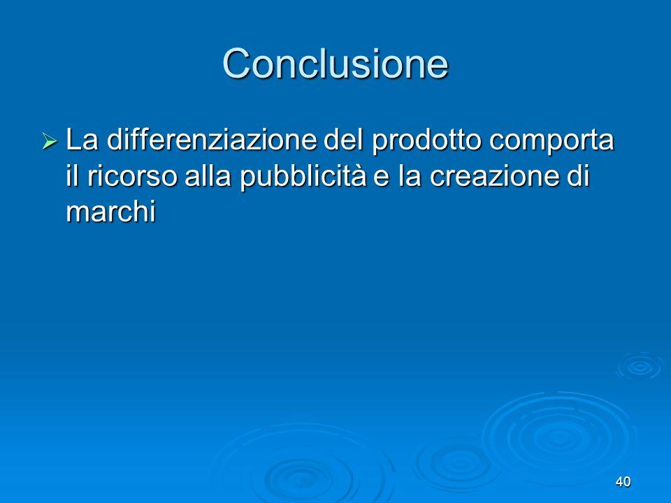 40 Conclusione La differenziazione del prodotto comporta il ricorso alla pubblicità e la creazione di marchi La differenziazione del prodotto comporta il ricorso alla pubblicità e la creazione di marchi