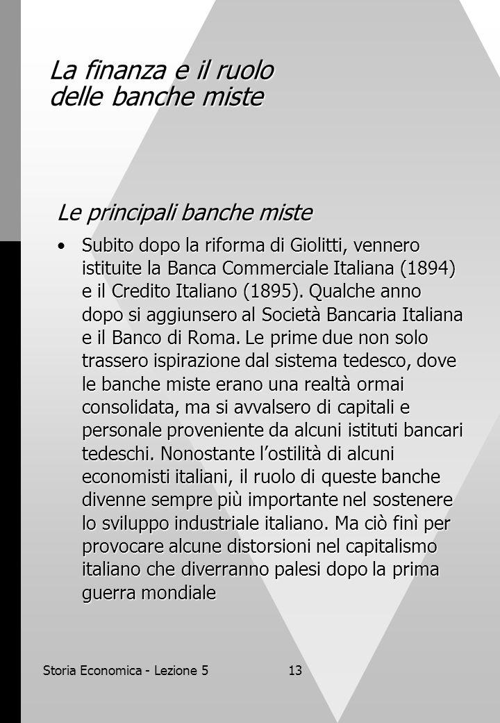 Storia Economica - Lezione 513 La finanza e il ruolo delle banche miste Le principali banche miste Subito dopo la riforma di Giolitti, vennero istitui