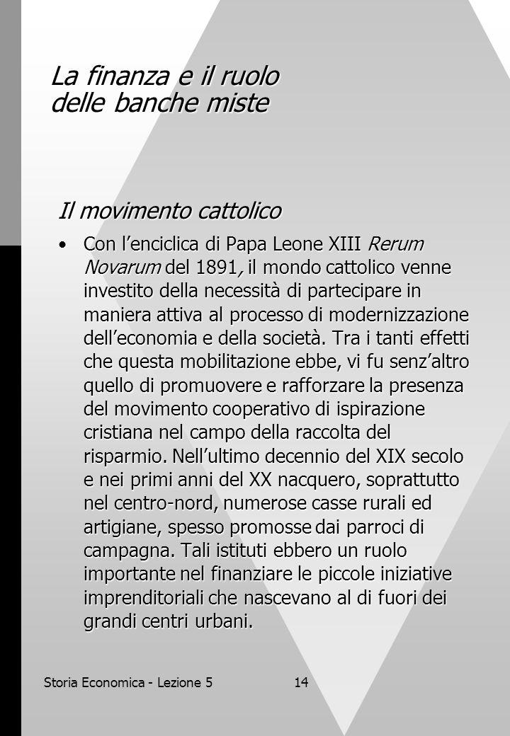 Storia Economica - Lezione 514 La finanza e il ruolo delle banche miste Il movimento cattolico Con lenciclica di Papa Leone XIII Rerum Novarum del 189