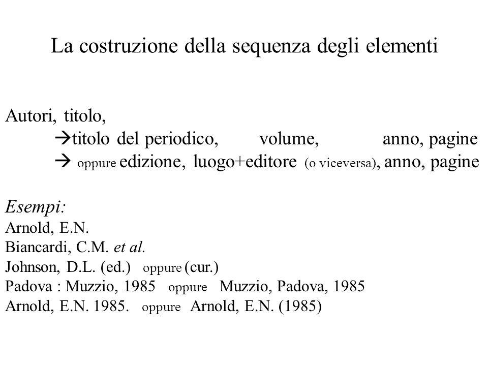 La costruzione della sequenza degli elementi Autori, titolo, titolo del periodico, volume, anno, pagine oppure edizione, luogo+editore (o viceversa), anno, pagine Esempi: Arnold, E.N.