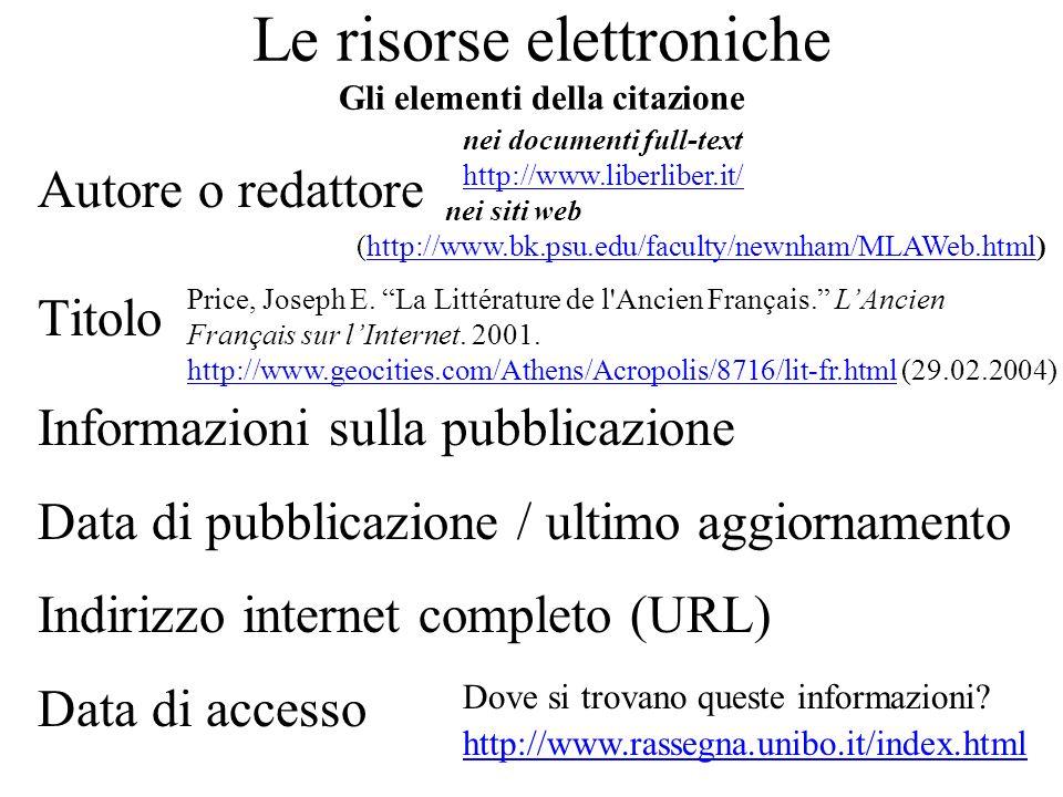 Le risorse elettroniche Gli elementi della citazione Autore o redattore Titolo Informazioni sulla pubblicazione Data di pubblicazione / ultimo aggiorn