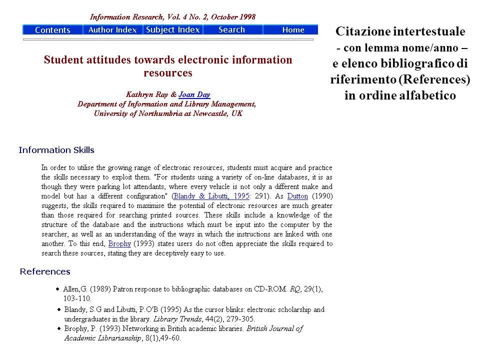 Citazione intertestuale - con lemma nome/anno – e elenco bibliografico di riferimento (References) in ordine alfabetico