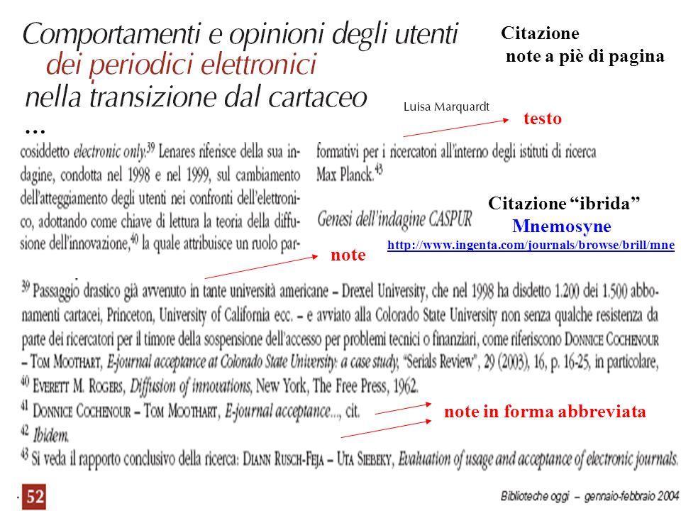 testo note Citazione note a piè di pagina … note in forma abbreviata Citazione ibrida Mnemosyne http://www.ingenta.com/journals/browse/brill/mne